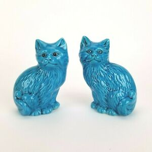 Vintage Cat Figurine Pair Turquoise Blue Chinese Porcelain China 5in