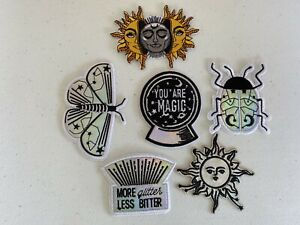 lot of 6 patches #610 butterfly sun moon metalic Med/large