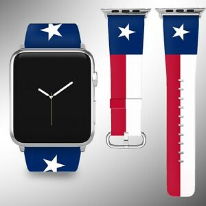 Texas Flag Apple Watch Band Series SE 6 5 4 3 Leather 40 44 38 40 mm FB