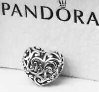 Authentic Pandora REGAL HEART CHARM W/ Pandora TAG & HINGED BOX #797672