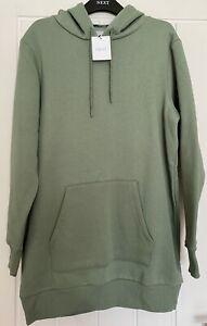 NEXT Ladies Khaki Green Longline Hoodie with Animal Print - Size M - NEW