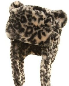 Womens Luxury Faux Fur Animal Print Trapper Hat Quilted Peru Hats Pom Pom Ears