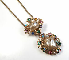Vintage Gold Costume Necklace Colorful Rhinestones Bouquet Flowers Lucite Pearl