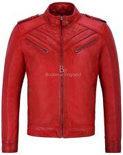 Hombre Cuero Real Chaqueta Rojo Estilo De Diseño Acolchado Para Motocicleta 2414