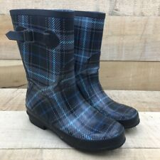 L.L. Bean Wellies Womens Rainboots Black Plaid Mid Calf Pull On Waterproof 7 M