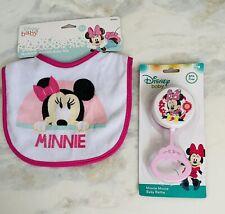 NWT Disney Baby Minnie Mouse Bib & Baby rattle 2pc Set Girls