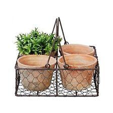 Four Aged Terra Cotta Flower Pots Metal Basket Home Gardening Garden Decoration