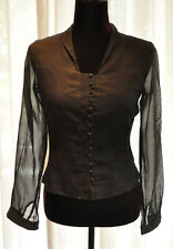 *Anne Fontaine* Black button front shirt with sheer sleeves  (UK 10)