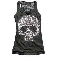 Womens Scoop Neck Toxic Skull Head Skull Print Lace Back Blouse Tunic Top Tanks