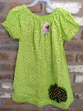 JELLY THE PUG~GIRLS  PEASANT DRESS~TREE BIRD~ Lime green~6T~NEW NWT