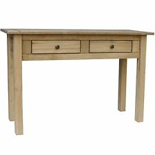 Panama Console Table 2 Drawer Solid Waxed Pine Rustic Dressing Bedroom Unit