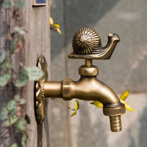 VTG Antique Snail Style Garden Wall Mounted Water Tap Brass&Copper Mix Faucet-5#
