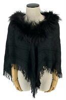 Authentic GUCCI GG Logo Fox Fur Poncho Shawl Scarf Warp Wool Silk Black