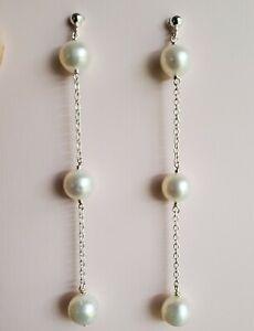 Pearl Long Drop Dangle Sterling Silver Chain Earrings Bridal Earrings