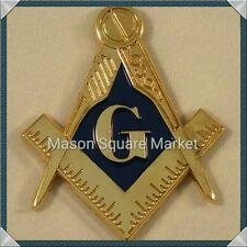 New Mini Freemason Masonic Square and Compass Car Emblem Gold & Blue Tone