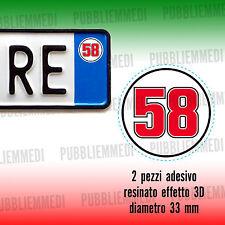 2 ADESIVI RESINATO STICKER SIMONCELLI SIC 58 ADESIVO EFFETTO 3D..auto moto targa