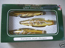 European Style Designs Glass Ornament Hand Decorated Set Of 3 In Original Box
