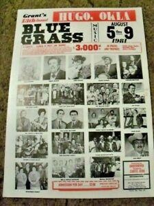 ORIGINAL 1981 HUGO,OKLA.GRANTS 13th ANNUAL BLUEGRASS POSTER - RALPH STANLEY+