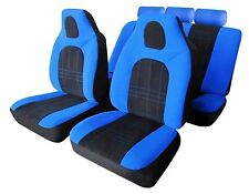 MONZA UNIVERSAL FULL SET SEAT PROTECTOR COVERS BLUE & BLACK SMOOTH VELOUR FABRIC