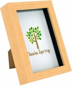 Box Picture Frame Deep 3D 4x6 Inch Hanging/Freestanding - Light Wood Effect