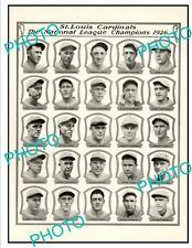 OLD 6x4 HISTORIC POSTER, ST LOUIS CARDINALS 1926 N/L BASEBALL CHAMPIONS