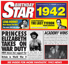 75th 1942 Birthday Gifts - 1942 Chart Hits Britpop CD and 1942 Greetings Card