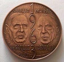 Germany-De Gaulle and Adenauer Elysee Treaty 1963 Bronze Medal by R.Pepin / N143