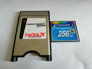 CompactFlash transcend 256MB CF with Compact Flash Card adapter PC PCMCIA Card