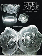PUBLICITE advertising  1976   LALIQUE CRISTAL  vase CONSTANCE & motif ANEMONE