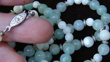 ANTIQUE CHINESE CELADON JADE NECKLASE WITH AGATE , SILVER BEADS  AND CRASP