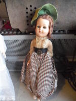 "Vintage 1940s Plastic Brown Hair Character Girl Doll 10"" Tall"