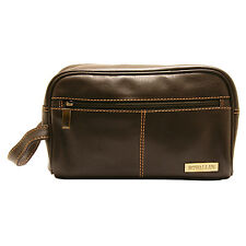 Rowallan - Brown Buchanan Wash Bag with carrying handle in Soft Cowhide Leather