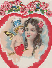 Patriotic Angel Kissing Girl Roses Valentine Postcard