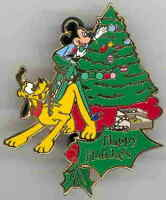 Disney Auctions Happy Holidays Mickey Mouse & Pluto LE Pin
