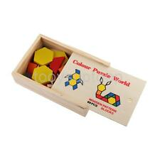 Vintage Geometric Shape Wooden Pattern Block Puzzle Kid Toy w/ Box Set of 60