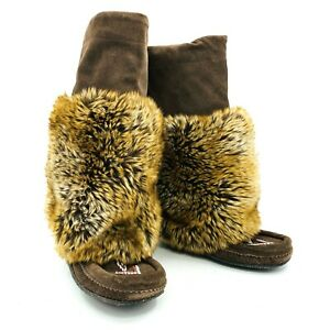 Manitobah Mukluks Brown Faux Fur Winter Boots Womens Size 7