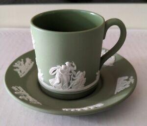 Vintage Wedgewood Jasperware green Tea Cup & Saucer stamped Made In England 61