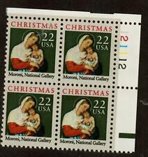 Scott 2367 22¢ Moroni Madonna Plate block of 4 MNH Free Shipping!!!