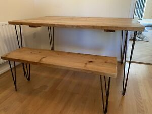 Reclaimed Pine Dining Table & Bench Set - Hairpin Legs - 6 Seater