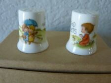 Vtg 1981 Betsey Clark Thimbles (x2) Friends Are Forever & God Bless Hallmark