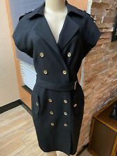 Calvin Klein  Black Double Breasted Belted  MILITARY STYLE Dress 6 MBC