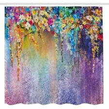 """Purple Flower Shower Curtain Colorful Weeping Bathroom Decor with Hooks 71""""x71"""""""