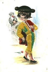 Carte postale fantaisie brodée matador
