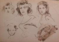 Old Drawing Sketch Studio For Portrait Feminine Faces Of Woman P28.8