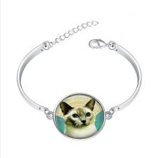 Siamese Cat glass cabochon Tibet silver bangle bracelets wholesale