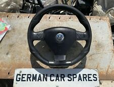 VW GOLF SCIROCCO TRANSPORTER T4 T5 LEATHER FLAT BOTTOM STEERING WHEEL & AIRBAG