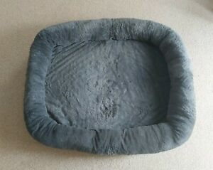 FAUX LEATHER | ORTHOPEDIC DOG BED | SUPER SOFT | GREY & BROWN SIZE XXL 90x70cm