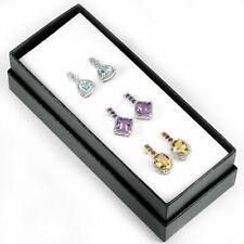 Sterling Silver Genuine Purple Amethyst Blue Topaz Golden Citrine Earring Set