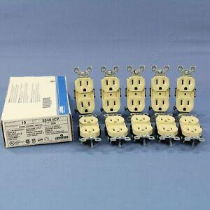 10 Leviton RESIDENTIAL Ivory Duplex Receptacle Outlets NEMA 5-15 15A 125V 5248-I