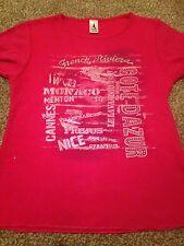 Ragazze Rosso Ciliegia Rosa Riviera Francese T-shirt Età 5-6 anni un sacco se Wear a sinistra
